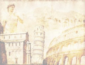 Grunge background with paper texture and landmarks of Italy - vo